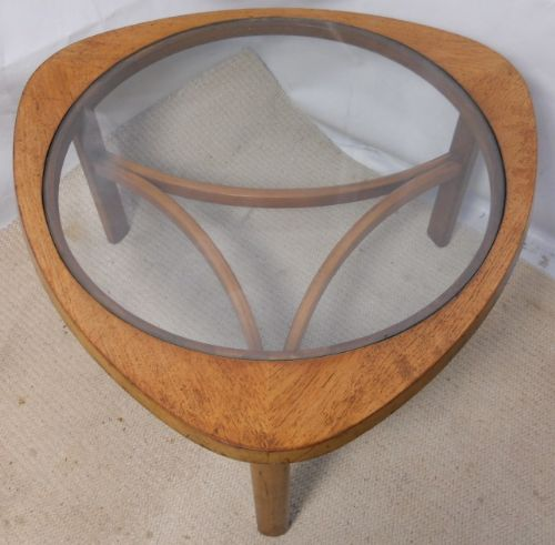 Retro 1960's Teak Shaped Top Coffee Table with Inset Glass Centre